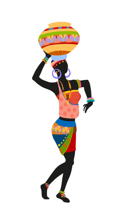 African woman in bright national costume dance dancing with a pitcher Banco de Imagens