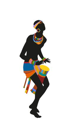 African man playing drums in bright national costume Stock Photo