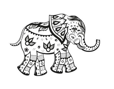 elefante: La estilizada figura de un elefante en los patrones de fiesta