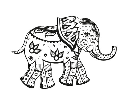 The stylized figure of an elephant in the festive patterns Stok Fotoğraf