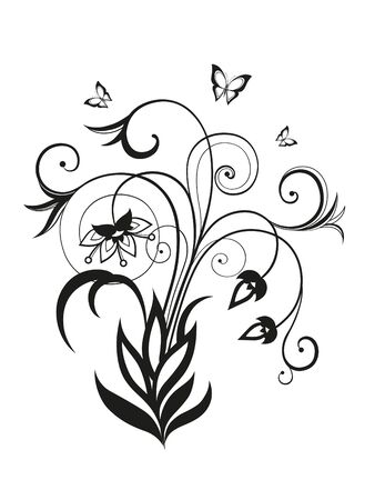 Abstract silhouette of decorative butterflies. It is designed to decorate. Maybe for tattoo photo