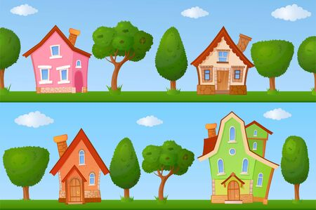 fairyland: Backgrounds of summer streets with fabulous houses and trees
