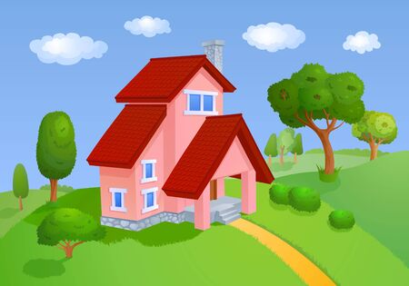 dream land: House with a red roof is located in the hills with trees Stock Photo