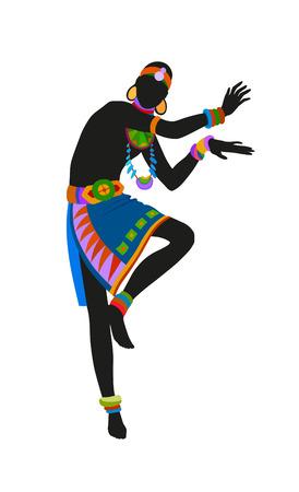 danza africana: Africano danza ritual de danza en el traje nacional brillante Foto de archivo