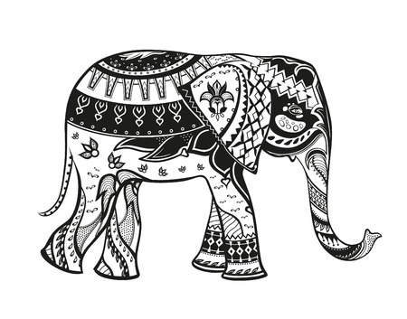 cartoon elephant: The stylized figure of an elephant in the festive patterns Stock Photo