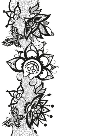 reminiscent: Abstract silhouettes of decorative flowers and butterfly. These butterflies and flowers are reminiscent of lace, they are created to decorate Illustration