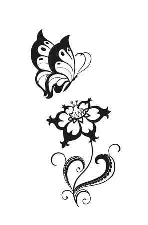 fantasy butterfly: Abstract silhouette of decorative butterflies. It is designed to decorate