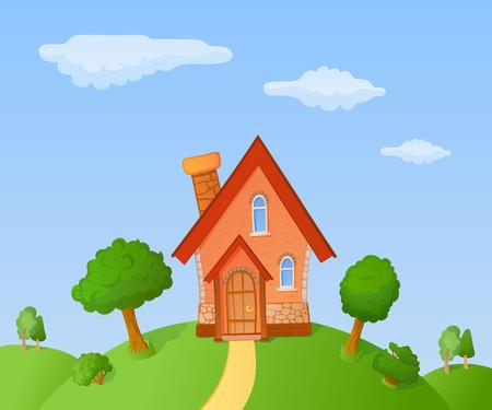 La façade d'une petite maison dans un paysage