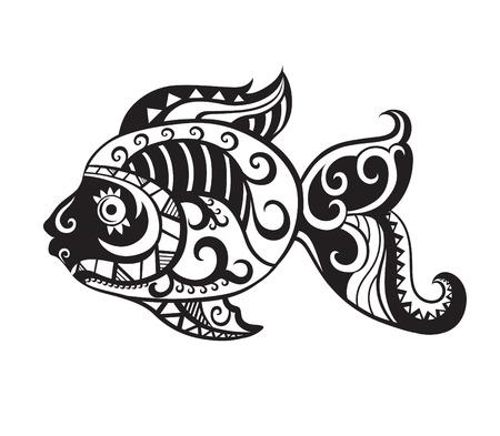 Patroonelementen in een vorm van vis in vector