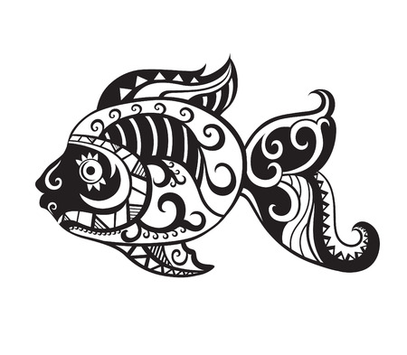 fish drawing: Pattern elements in a form of fish made in vector