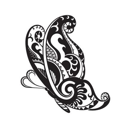 벡터에서 만든 나비의 형태로 패턴 요소