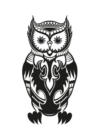 the inuit: Pattern elements in a form of owl made in vector Illustration