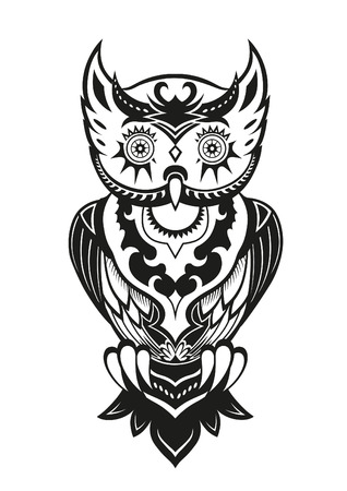 fish culture: Pattern elements in a form of owl made in vector Illustration