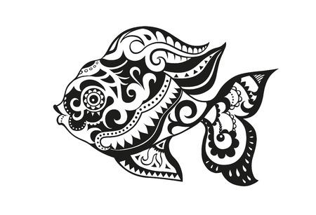 パターン要素ベクトルで作られた魚の形で