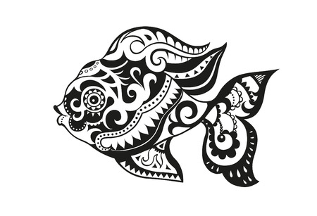 polynesian: Pattern elements in a form of fish made in vector