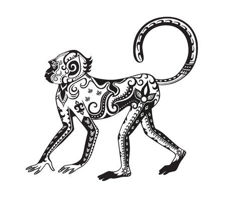 The stylized figure of an monkey in the festive patterns