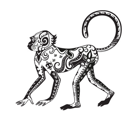 cute cartoon monkey: The stylized figure of an monkey in the festive patterns