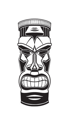 Hawaiian tiki god statue black and white vector illustration Çizim