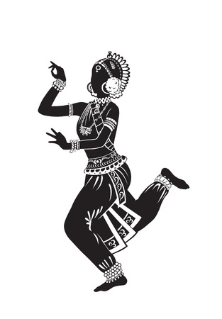 Indian girl perform ethnic dance in national costume
