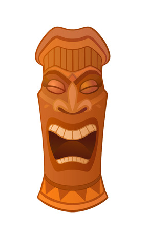 Hawaiian tiki god statue carved polynesian wood vector illustration 向量圖像