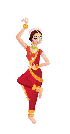 national costume: Indian girl takes ethnic dance in national costume Illustration