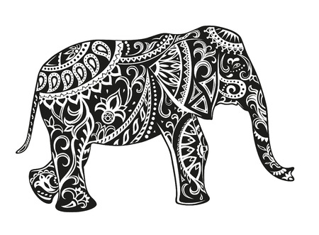 The stylized figure of an elephant in the festive patterns Vectores