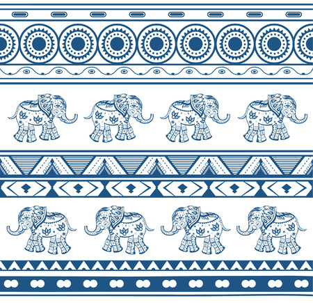 cartoon elephant: Geometric patterns with a elephants  in ethnic style