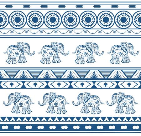 elefant: Geometrische Muster mit Elefanten in ethnischen Stil Illustration
