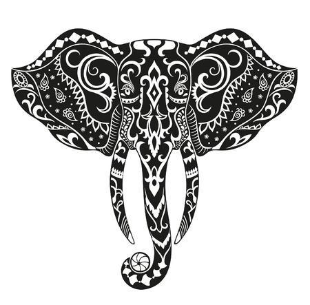 Die stilisierte Kopf eines Elefanten in den festlichen Muster