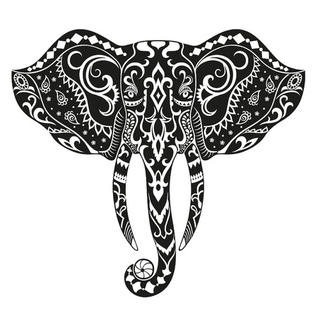 head of animal: The stylized head of an elephant in the festive patterns