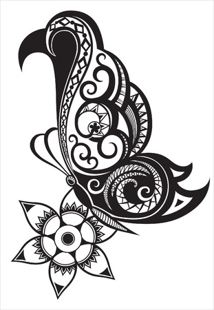 butterfly tattoo design: Pattern elements in a form of butterfly made in vector