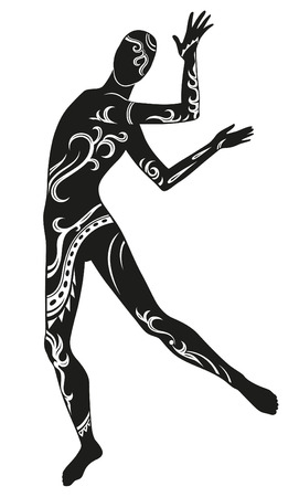whose: Expression in dance man, whose body in ethnic ornaments Illustration