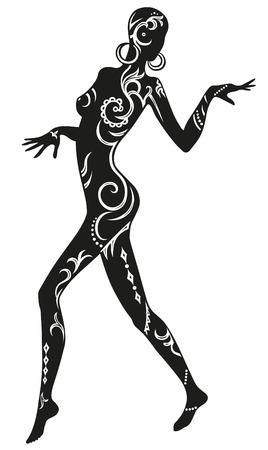whose: Espressione nella danza donna, il cui corpo in ornamenti etnici Vettoriali
