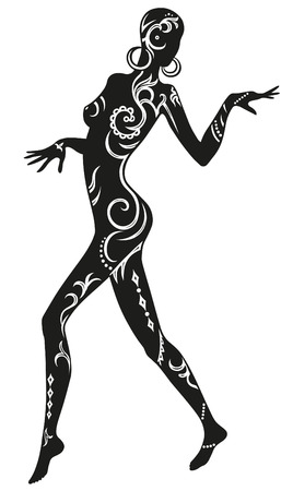 Expression in dance woman, whose body in ethnic ornaments