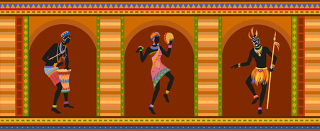 ethnographic: Africans dance ethnic dance in national costumes