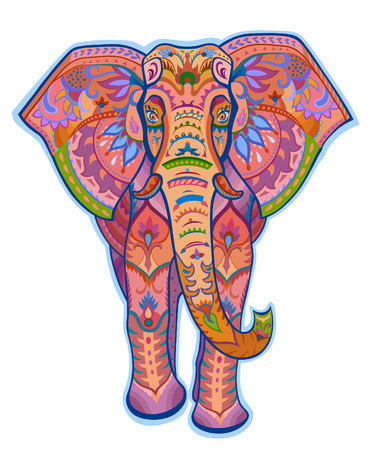 The stylized colorful figure of an elephant in the festive patterns