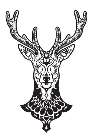 The stylized head of an deer in the festive patterns