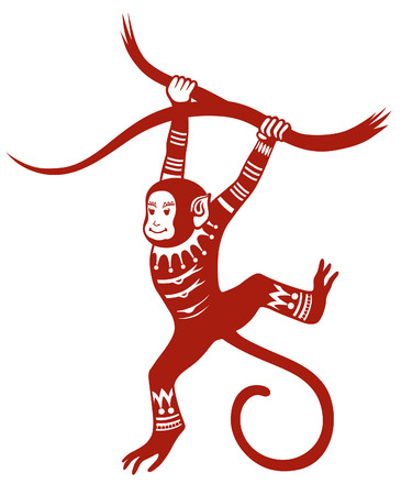 frill: The stylized figure of an monkey in the festive patterns