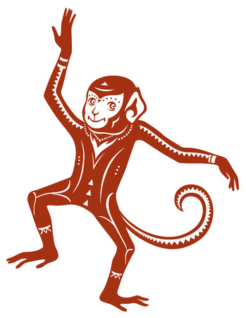 persia: The stylized figure of an monkey in the festive patterns
