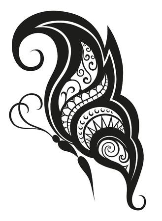 tattoo farfalla: Gli elementi del modello in una forma di farfalla realizzati in vettoriale Vettoriali
