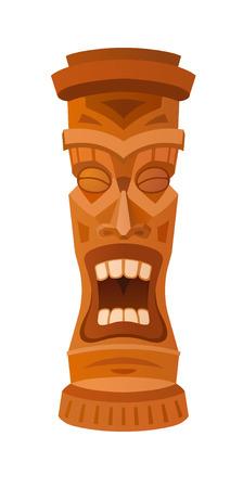 totem: Hawaiian tiki god statue carved polynesian wood vector illustration Illustration