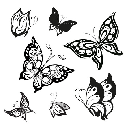 Vector set of butterflies for decoration design Vectores