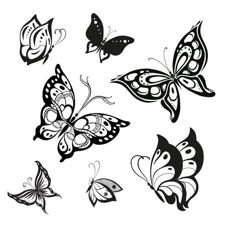 Vector set of butterflies for decoration design Illustration