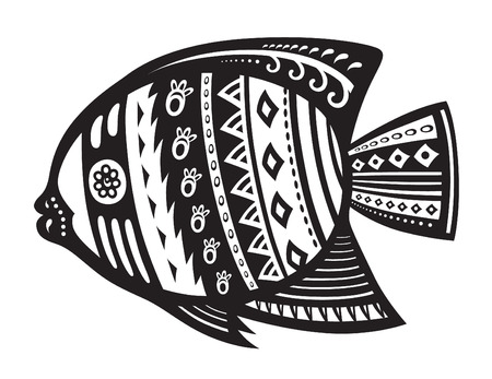 fish form: Pattern elements in a form of a fish made in vector Illustration