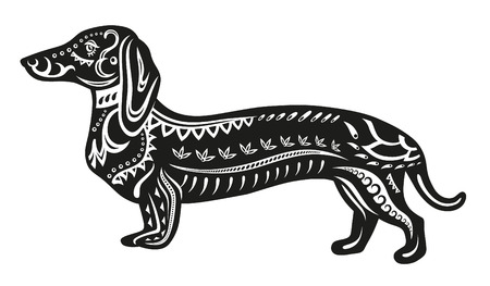 persia: The stylized figure of a dog in festive patterns