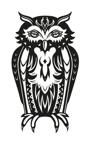 folk art: Pattern elements in a form of owl made in vector Illustration