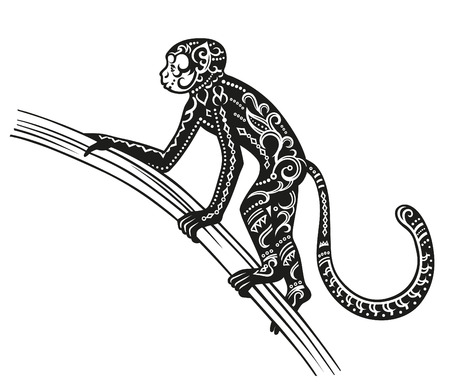 antics: The stylized figure of an monkey in the festive patterns