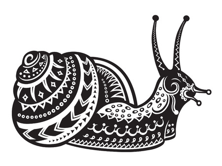 antics: The stylized figure of an snail in the festive patterns Illustration