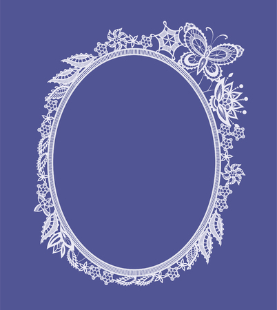 lace: The frame of the elements in the form of abstract lace flowers,  leaves and butterflies