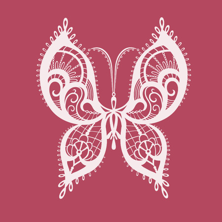 reminiscent: Abstract silhouette invented decorative butterfly. Reminiscent of lace, it is designed to decorate